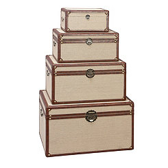 Wooden Burlap Trunks, Set of 4