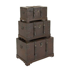 Leather Strapped Wooden Trunks, Set of 3