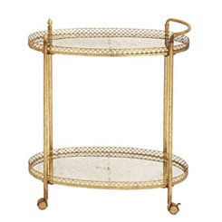Distressed Gold Round Bar Serving Cart