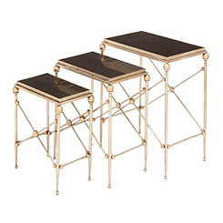 Gold Marble Top Accent Tables, Set of 3