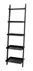 Black Wooden Leaning Shelf