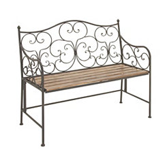 Antique Scrolled Iron Wooden Bench