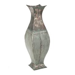 Weathered Blue Metal Leaf Vase