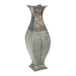 Weathered Blue Metal Leaf Vase