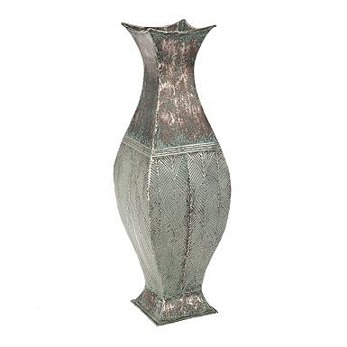 weathered blue metal leaf vase - Home Decor Vases
