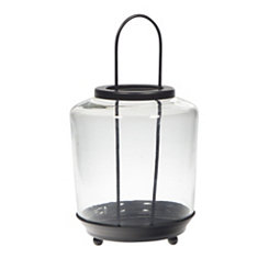 Wide Glass and Black Metal Lantern