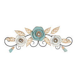Blue Blooms Over the Door Wall Plaque