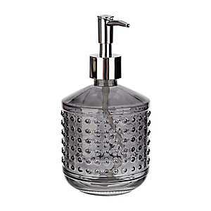 Smoke Hobnail Glass Soap Pump
