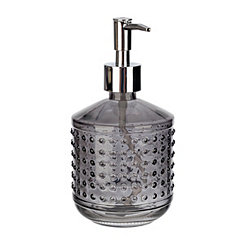 Smoke Hobnail Glass Soap Pump
