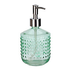 Green Hobnail Glass Soap Pump