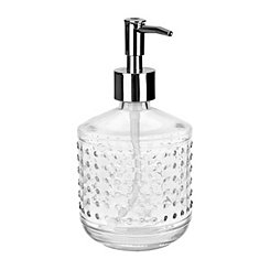 Clear Hobnail Glass Soap Pump