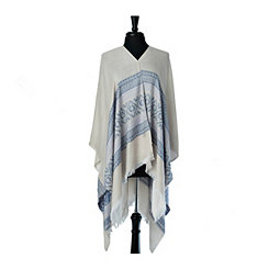 Ivory and Blue Jacquard Print Wrap