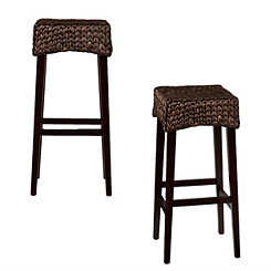 Woven Water Hyacinth Bar Stools, Set of 2