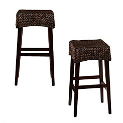 Woven Water Hyacinth Counter Stools, Set of 2