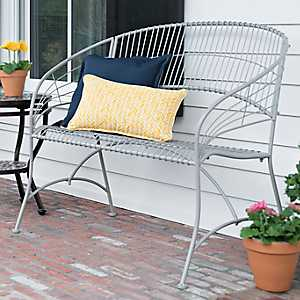 Gray Curved Metal Bench