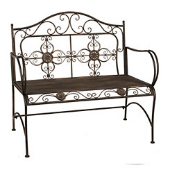Scrolled Bronze Metal Bench