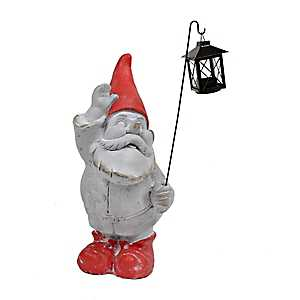 Red Gnome Statue with Lantern