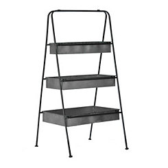 Black Galvanized Metal 3-Tier Stand