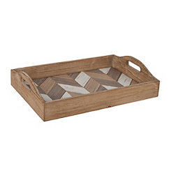 Chevron Inlay Decorative Tray