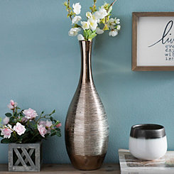 Spun Metallic Gold Ceramic Vase