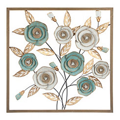 Blue Blooms Metal Wall Plaque