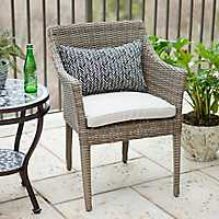 Stackable Wicker Chair with Ivory Cushion