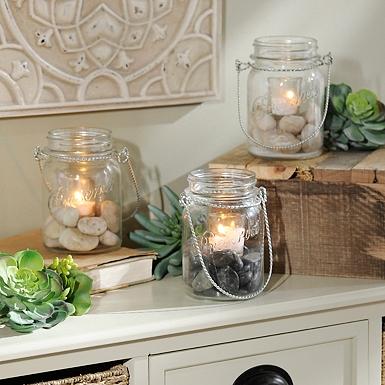 mason jar votive candle holders set of 3