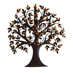 Brown Autumn Tree Metal Wall Plaque