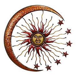 Burnt Sun and Moon Metal Wall Plaque