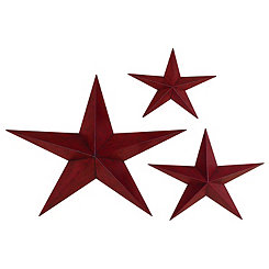 Distressed Red Star Metal Wall Plaques, Set of 3