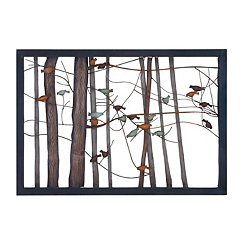 Framed Birds in Forest Metal Wall Plaque
