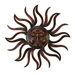 Distressed Bronze Sun Metal Wall Plaque