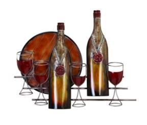 Wine Bottles Metal Plaque
