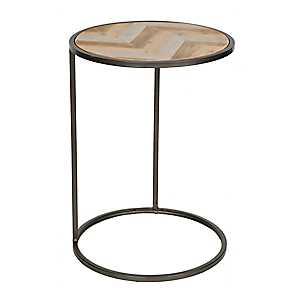 Herringbone Plank Round C-Table