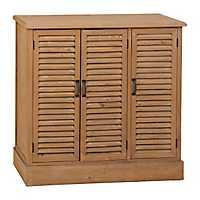 Natural Wood Shutter Cabinet