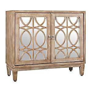 Whitewash Miranda Mirrored 2-Door Cabinet