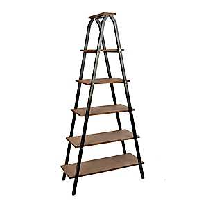 Industrial 5-Tier Metal and Wood Ladder Shelf