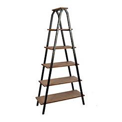 Industrial 5-Tier Metal and Wood Ladder Shelf