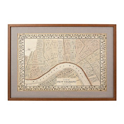 New Orleans Map Framed Art Print