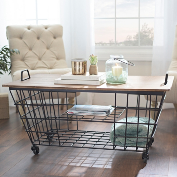 Wire Wood Top Storage Cart Coffee Table
