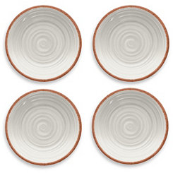 Rustic Swirl White Salad Plates, Set of 4