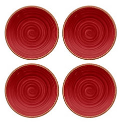 Rustic Swirl Red Salad Plates, Set of 4