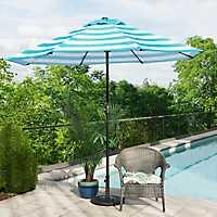 Turquoise and White Stripe Patio Umbrella