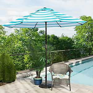 Turquoise and White Stripe Patio Umbrella