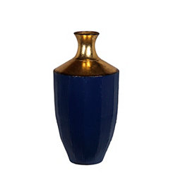 Blue and Gold Metal Floor Vase