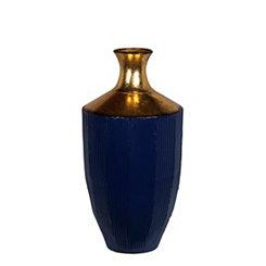 Blue and Gold Metal Floor Vase