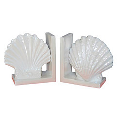 White Seashell Bookends, Set of 2