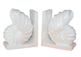 White Conch Shell Bookends, Set of 2
