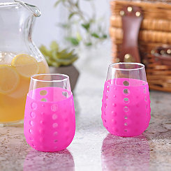 Pink Hydra Sip Wine Glasses, Set of 2