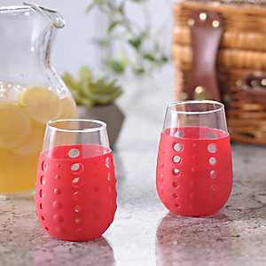 Red Hydra Sip Wine Glasses, Set of 2
